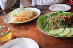 papaya salad and minced duck salad
