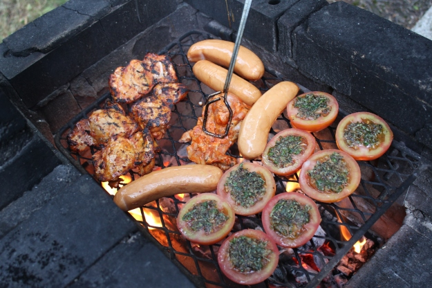barbeque: tomatoes, chicken, sausages