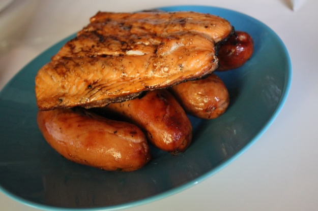 salmon and sausages