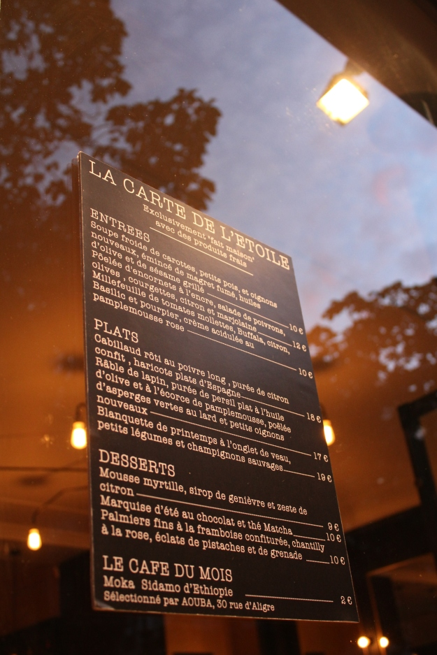 Menu, L'Etoile in Paris