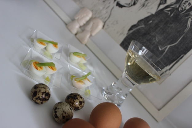 quail eggs with cucumber