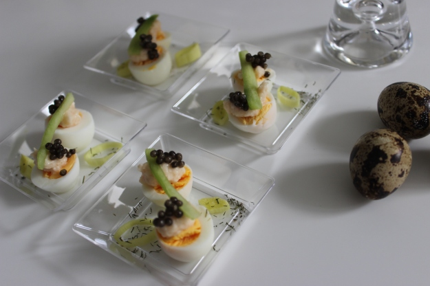 quail eggs with caviar and tarama