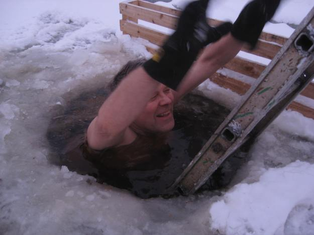 swimming in the ice