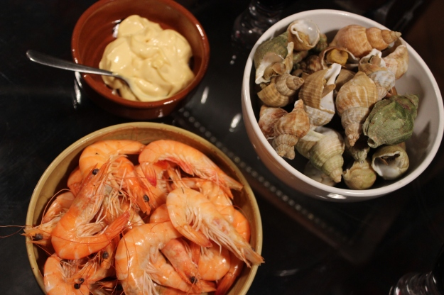 shrimps and whelks for dinner