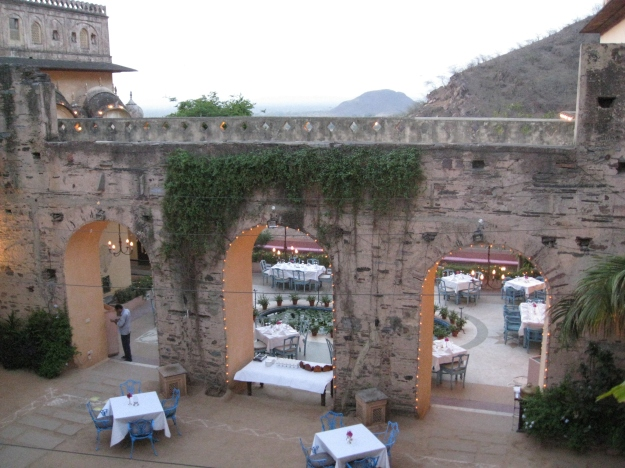dining at Neemrana Fort-Palace