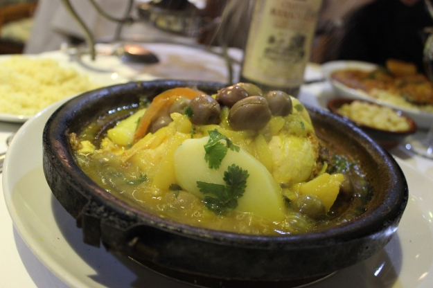 tajine with lemons, onions, olives