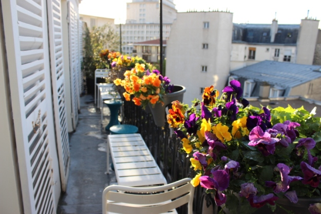 Parisian balcony in spring