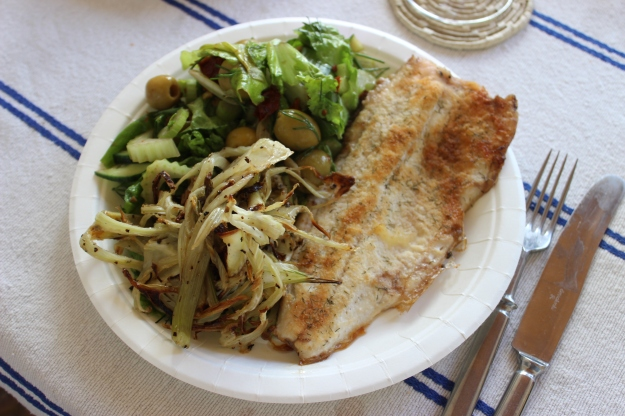 white fish, green salad, grilled fennel