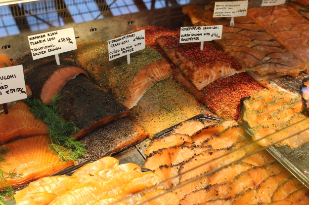 Salmon with different flavors at Fish Shop Marja Nätti. My paradise!!