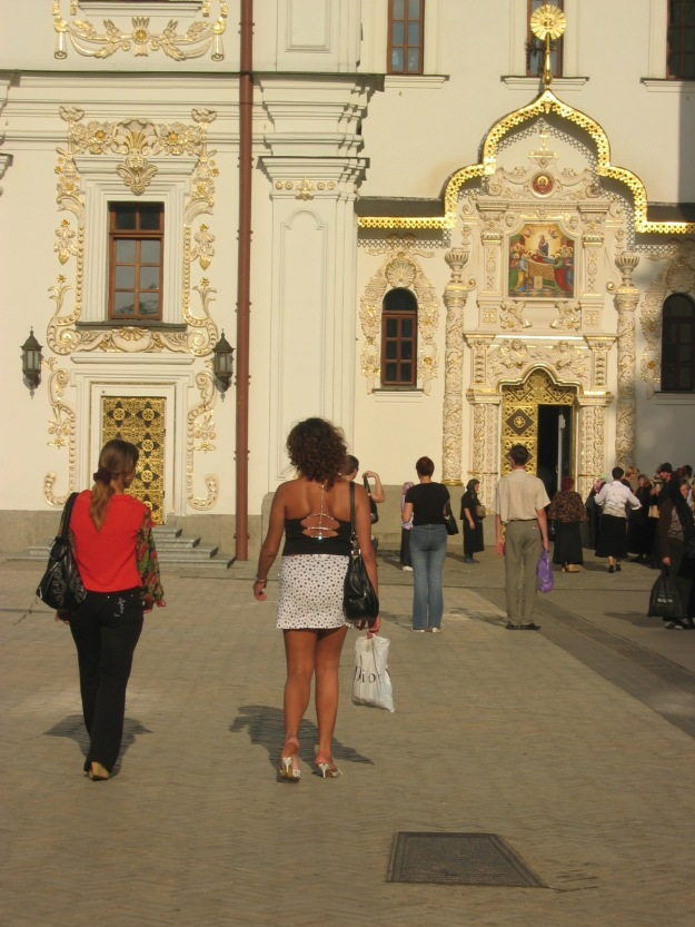 ...usually when visiting an orthodox (or any!) church you should cover your knees and shoulders...