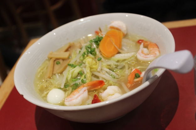 Gomoku Ramen, noodles with vegetables and shrimps